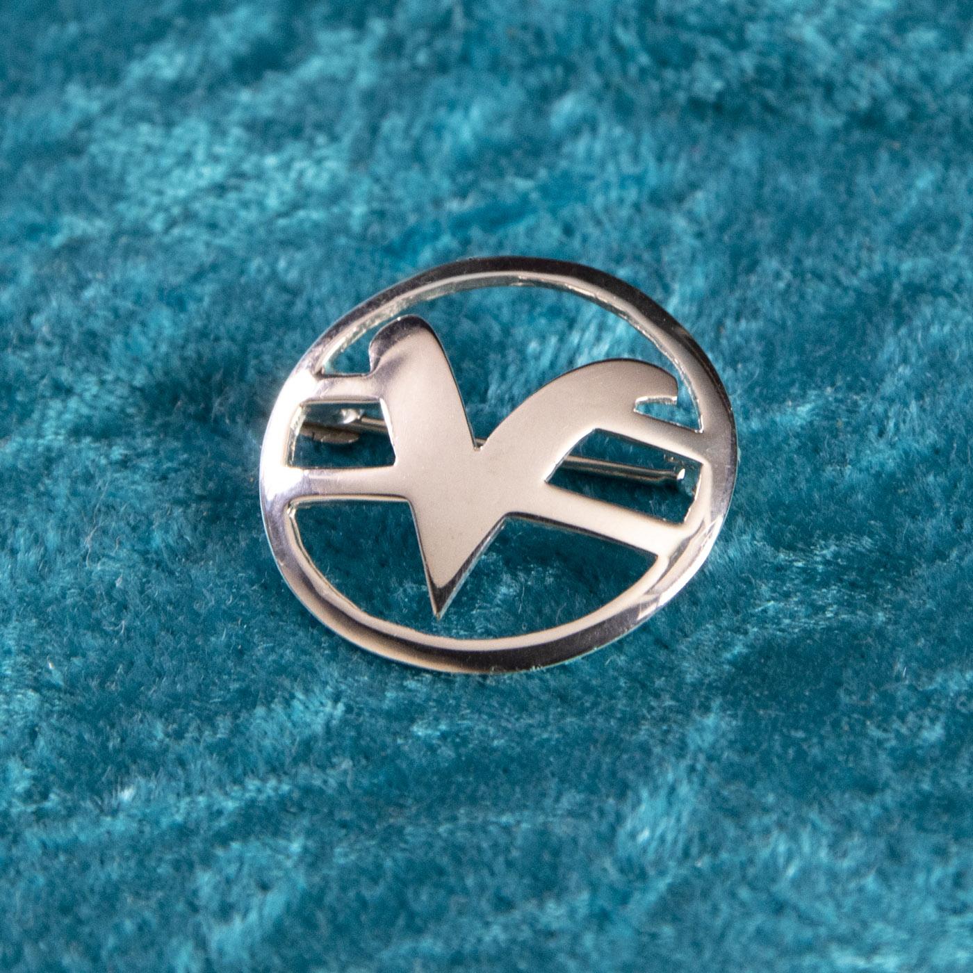 Scarf Pin, sterling, teaching symbol